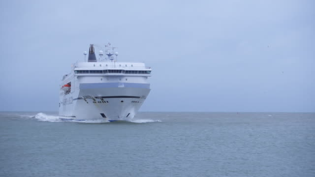 ferry norröna entering port of hirtshals - ferry stock videos & royalty-free footage