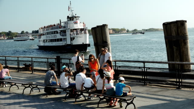 ferry service to liberty & ellis island, manhattan – new york city - new york harbor stock videos & royalty-free footage