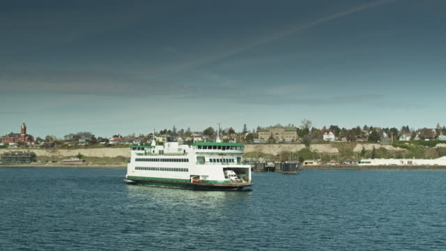 ferry setting off from port townsend, wa - aerial shot - north pacific stock videos & royalty-free footage