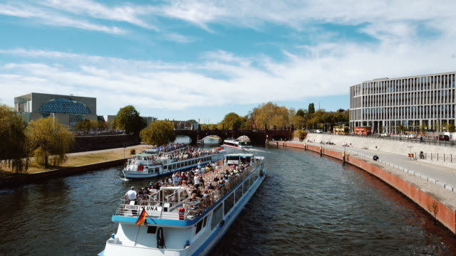 ferry ship at the spree river in berlin, germany - river spree stock videos & royalty-free footage