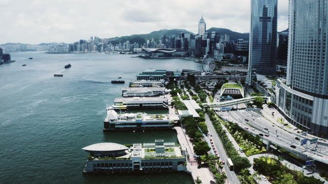 ferry terminal at central district, hong kong - star ferry stock videos & royalty-free footage