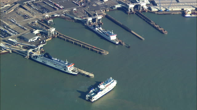 aerial ferry terminal at dover / kent, united kingdom  - english channel stock videos and b-roll footage