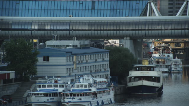MS TU Ferry Terminal on Moscow River under Bagration Bridge / Moscow, Russia