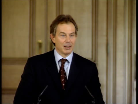 9th man held POOL ENGLAND London Downing Street Tony Blair MP press conference SOT shouldn't give carte blanche to averybody/ we have raised human...