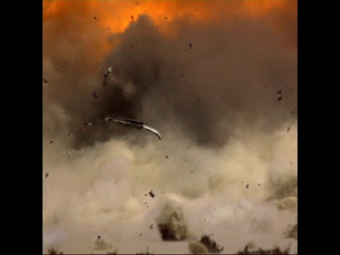 fertiliser bomb explosion; slow motion / time lapse fade in close up shot of van and other truck in desert as fertiliser bomb exploding and shrapnel... - fade in video transition stock videos & royalty-free footage