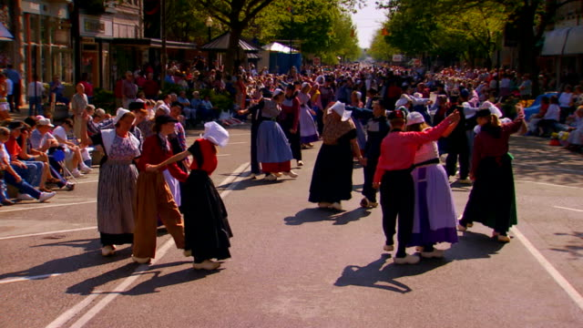 festival dancers in dutch costumes, slow motion - dutch culture stock videos & royalty-free footage
