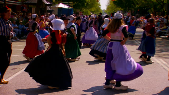 festival dancers in dutch costumes, slow motion - traditional clothing stock videos & royalty-free footage
