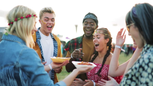festival food with friends - music festival stock videos & royalty-free footage