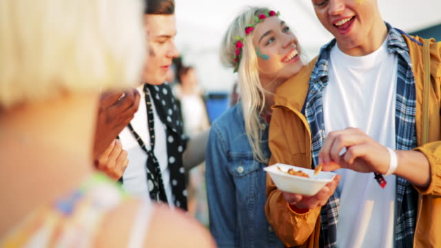 festival food with friends - youth culture stock videos & royalty-free footage