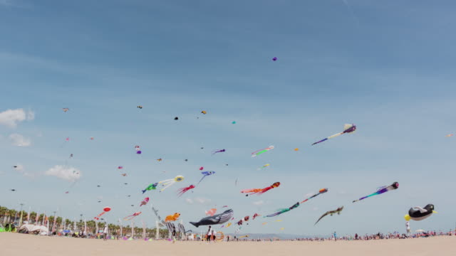 Festival of Kites time lapse in the city of Valencia
