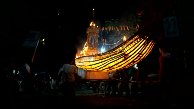 festival of light (loy krathong fastival) in luang prabang, laos - editorial stock videos & royalty-free footage