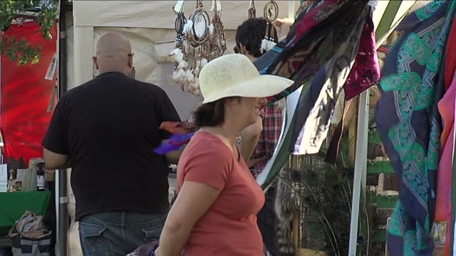 festivalgoers gathered for the pagan pride festival to celebrate thanksgiving the festival was an attempt to collect food for donation as well as... - paganism stock videos and b-roll footage