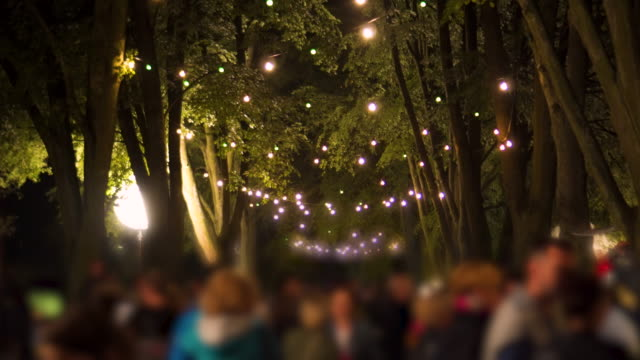 festive atmosphere in the city night - picnic stock videos and b-roll footage