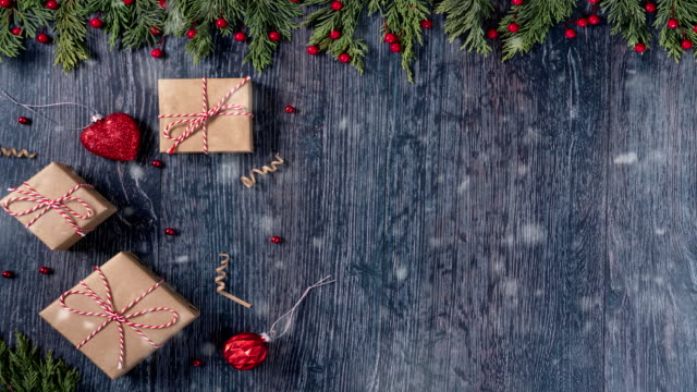 4k festive christmas wooden background - table stock videos & royalty-free footage