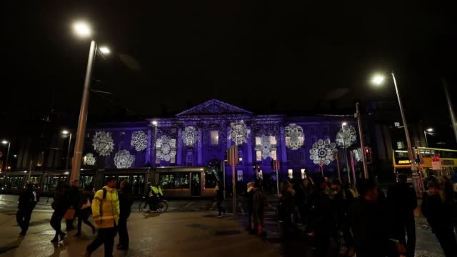 festive lights illuminate thirteen iconic sites for 31 nights in dublin using customised projects as part of the 'winter lights dublin city' - customised stock videos & royalty-free footage