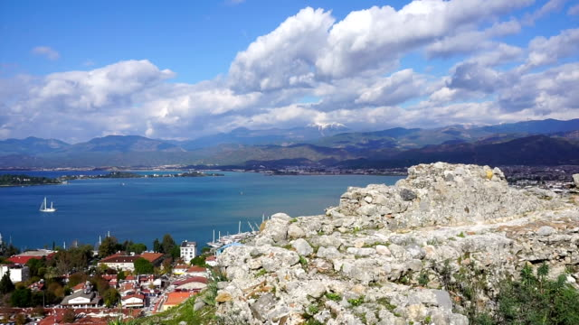 fethiye view of the castle - timelapse - fethiye stock videos and b-roll footage