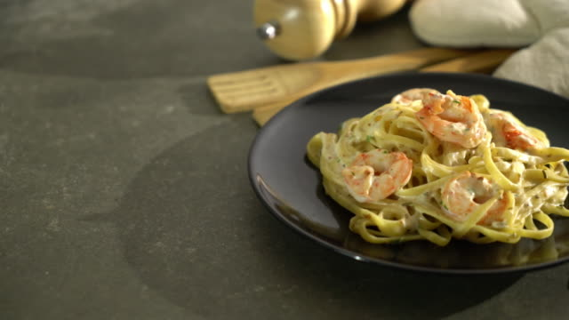fettuccini pasta with shrimp - plate stock videos and b-roll footage