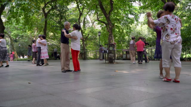 few couples of senior adult dancing in park - dustbin stock videos & royalty-free footage