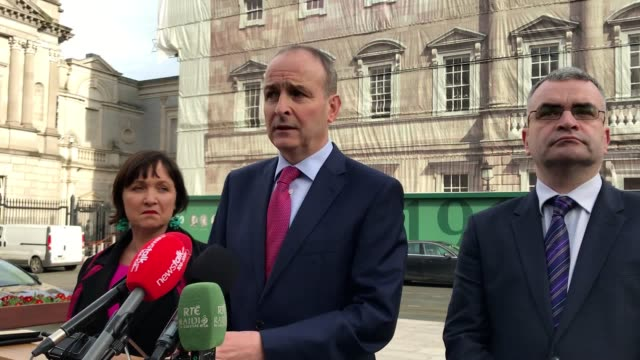 fianna fail leader micheal martin discussing ireland's no-deal brexit preparedness on friday following the publication of the government's brexit... - publication stock videos & royalty-free footage