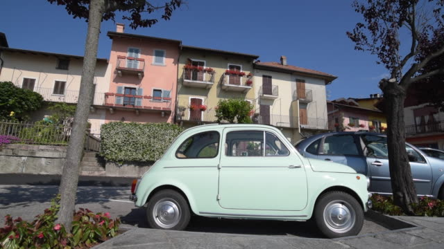 fiat 500 in italian village - piedmont italy stock videos & royalty-free footage