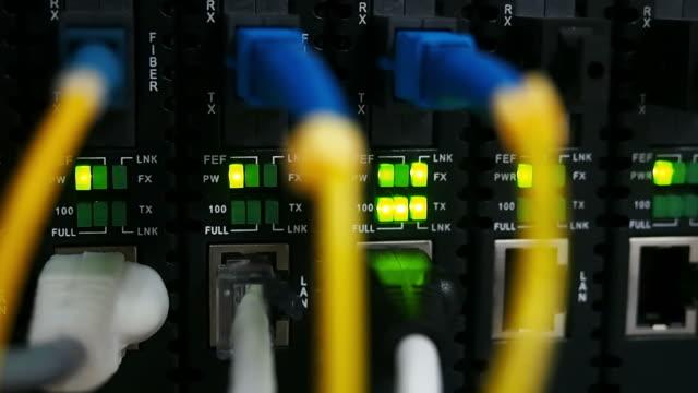 Fiber optic network in pan shot