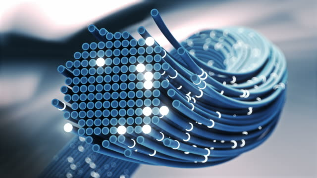 fiber optics cable signal close-up. - bandwidth stock videos & royalty-free footage