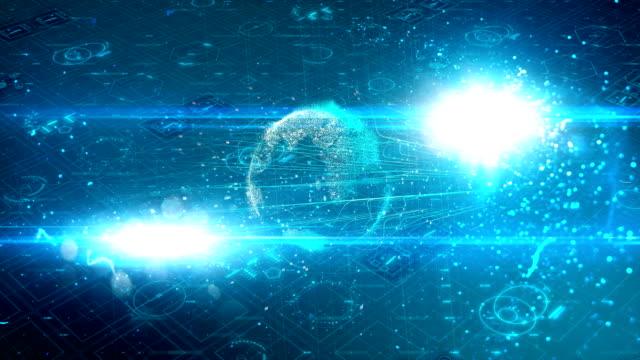 fiber optics connections moving around earth. - mediterranean sea stock videos & royalty-free footage
