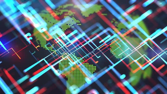 vídeos y material grabado en eventos de stock de conexiones de fibra óptica que se mueven alrededor de la tierra. - export palabra en inglés