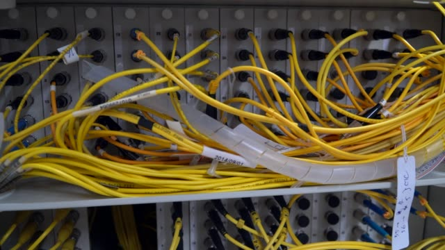 fiber patch cord in network room - cable stock videos & royalty-free footage