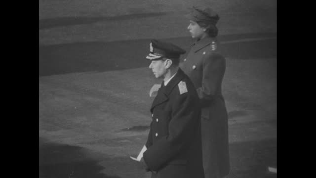 ws officials at the cenotaph for the remembrance sunday ceremony / ms george vi and princess elizabeth stand as vo hymn is sung / winston churchill... - remembrance sunday stock videos & royalty-free footage