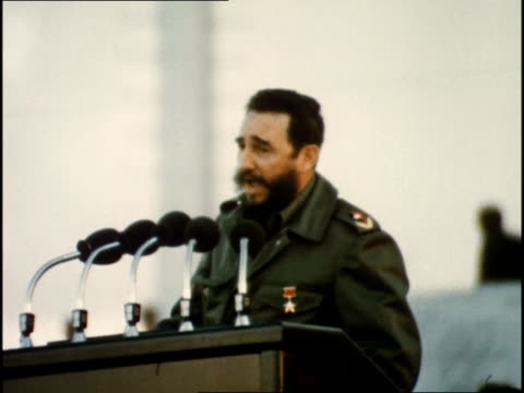 fidel castro gives speech to large rally for brezhnev about the love between soviet and cuban people - fidel castro stock videos and b-roll footage