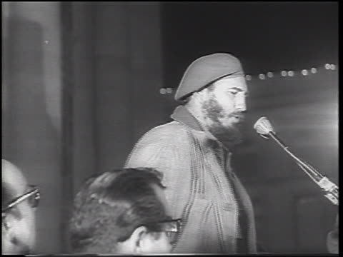 Fidel Castro making speech into micrphone during Cuban Missile Crisis / newsreel