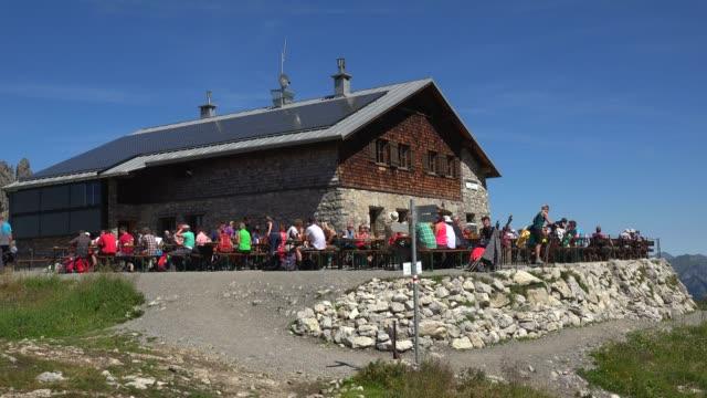 fidererpass mountain hut, kanzelwand, allgaeu alps, oberstdorf, allg?u, swabia, bavaria, germany - shack stock videos and b-roll footage