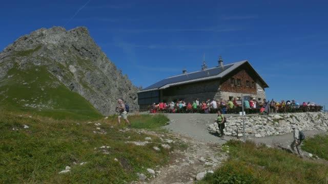 fidererpass mountain hut, kanzelwand, allgaeu alps, oberstdorf, allg?u, swabia, bavaria, germany - shack stock videos & royalty-free footage