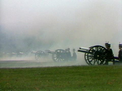 Field guns are fired and church bells are rung to celebrate the birth of Prince William