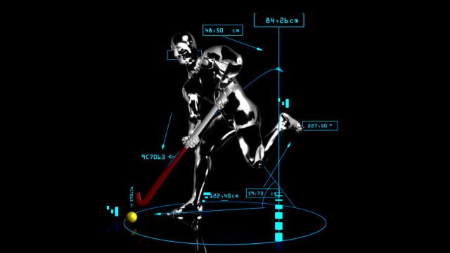 3D field hockey man with technical data