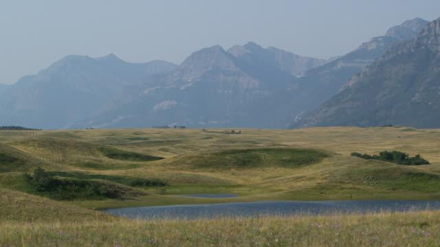 pan field, lake & mountain. - wiese stock videos & royalty-free footage