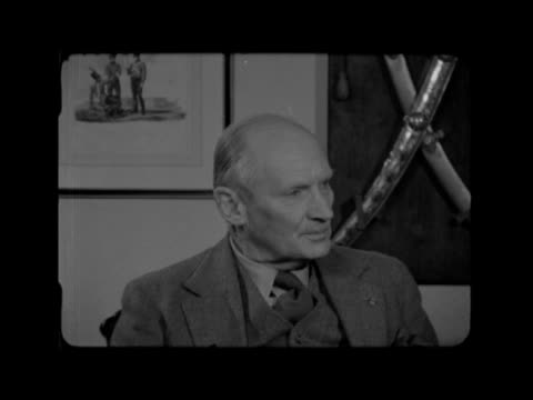 field marshal montgomery retires; england: hampshire: ext monty out of door of his houses ditto: gv house: int gv study with trophies on wall:... - sputnik video stock e b–roll