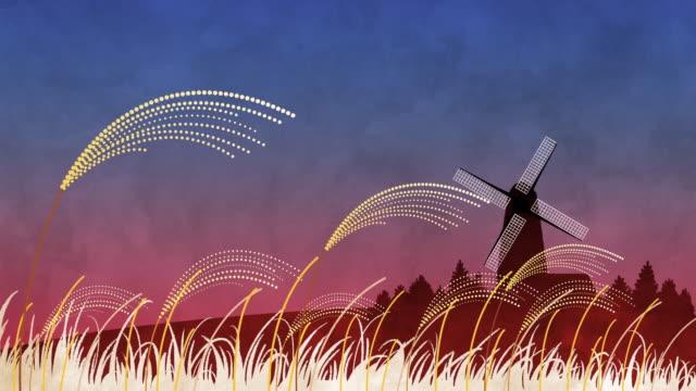 vídeos de stock, filmes e b-roll de field of reeds and windmill - fazendola