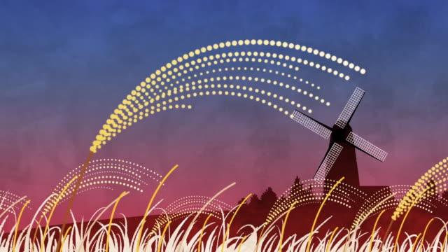 vidéos et rushes de field of reeds and windmill - fermette écossaise