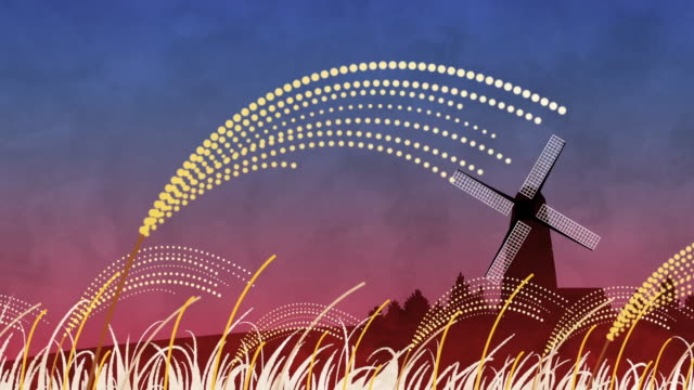 field of reeds and windmill - 農家の家点の映像素材/bロール