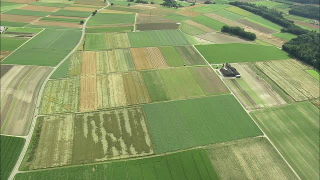 vídeos y material grabado en eventos de stock de aerial field patterns, rekingen, aargau, switzerland - paisaje mosaico