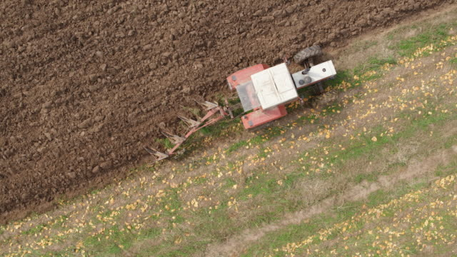field plowing drone point of view uhd top view - plowed field stock videos & royalty-free footage