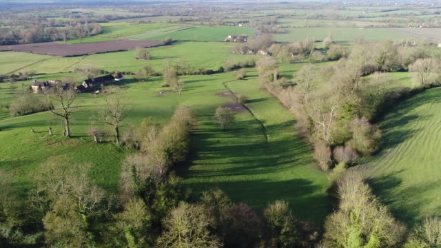 fields agriculture and meadow, houses seen by drone - normandie stock-videos und b-roll-filmmaterial