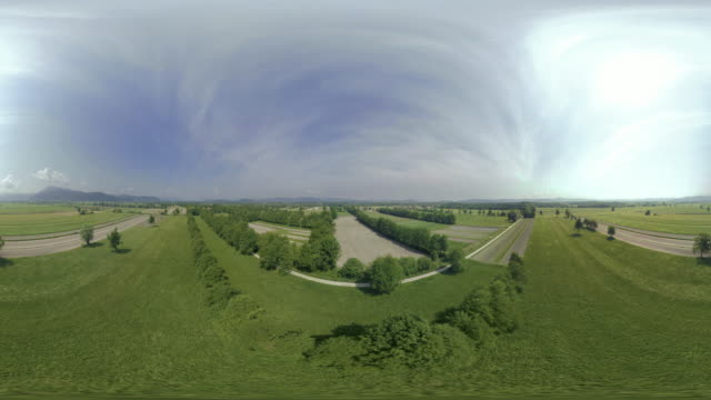 AERIAL VR 360: Fields and meadows in sunshine