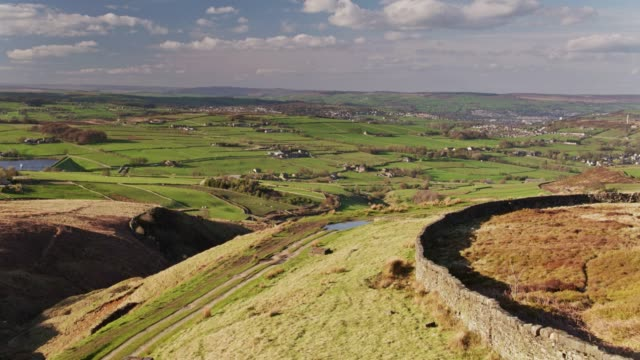 fields and moorland in west yorkshire - drone shot - west yorkshire stock videos & royalty-free footage