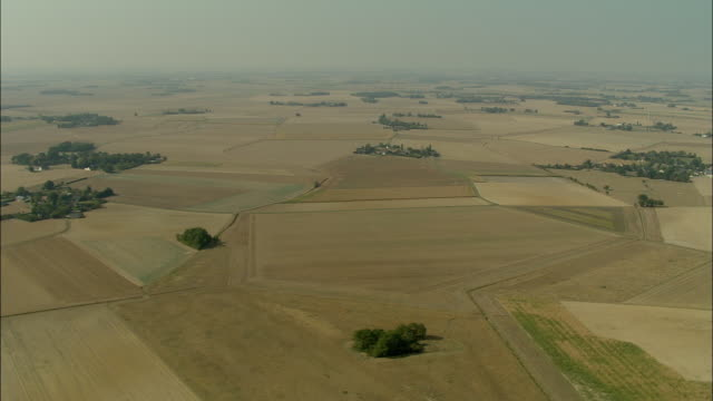 vidéos et rushes de aerial, fields near arromanches, normandy, france - patchwork landscape