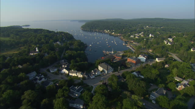 aerial, fields,  town and harbor, rockalnd, maine, usa - rockport maine stock videos & royalty-free footage