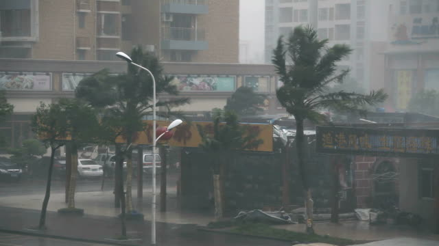Fierce Hurricane Eyewall Winds Rip Through City