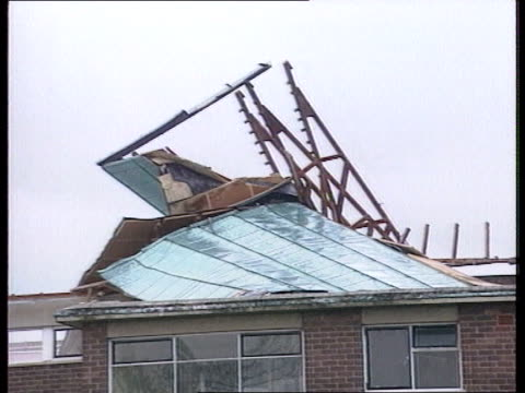 Fierce storms sweep Britain Fierce storms sweep Britain WIND Wilts Swindon Grange Hill Junior School GV School building with part of roof missing...